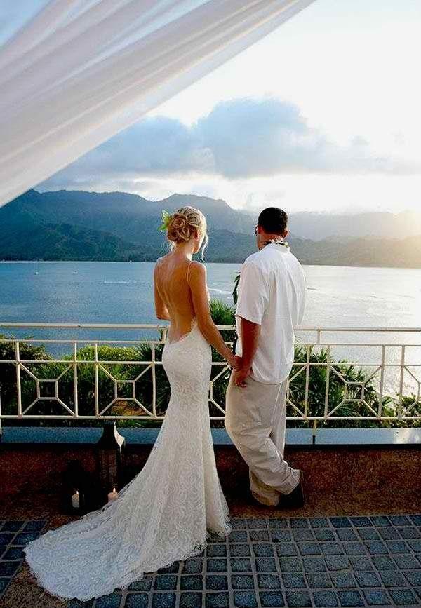 That back.. Amazing beach wedding dress for next year!  @Wendy Felts Werley-Williams.katiemay.com