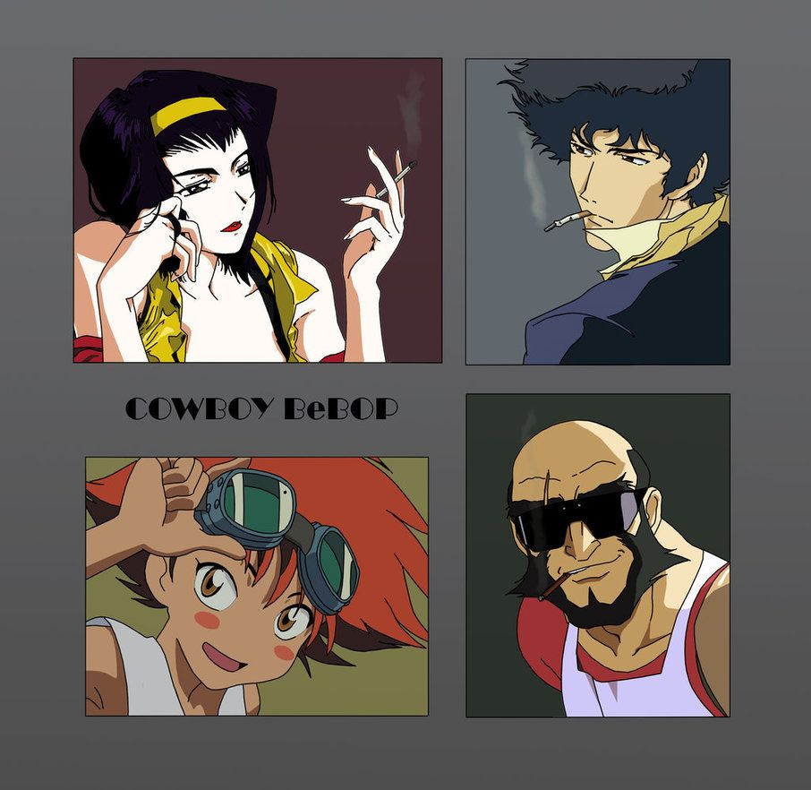 Bebop by Hyper-Aggie42  Cowboy Bebop: Faye Valentine, Spike Spiegle, Radical Edward and Jet Black