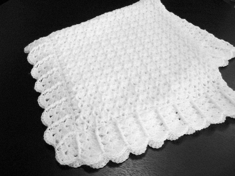 Crochet Baby Blanket White Christening Baptism Newborn Crib Stroller ...