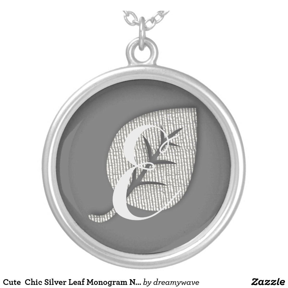 Cute  Chic Silver Leaf Custom Monogram Necklace