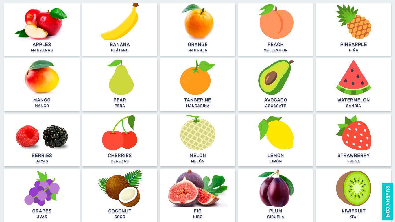 Frutas En Inglés Y Español En Imágenes Fruit Names Fruits