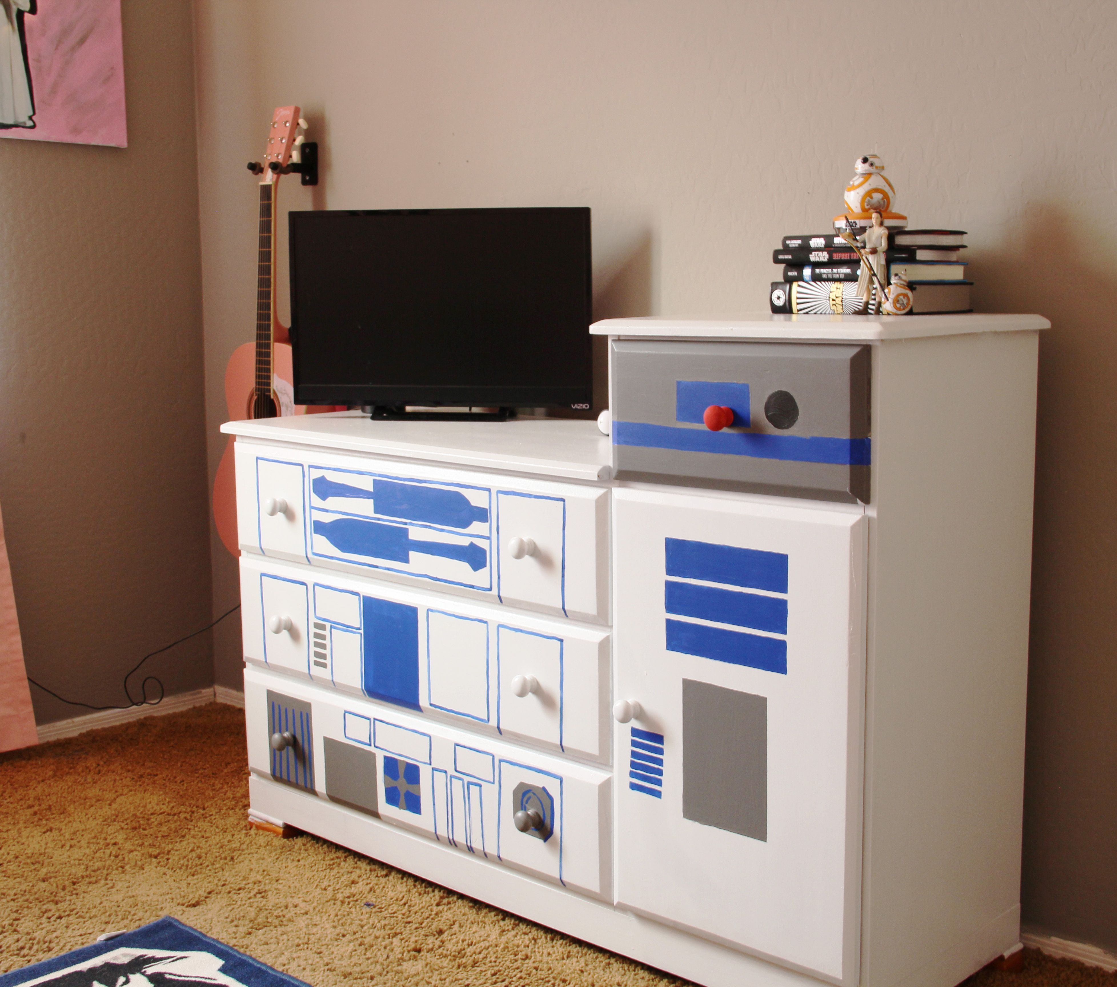 Hand painted R2D2 Dresser using latex paint.   Star Wars Room ...