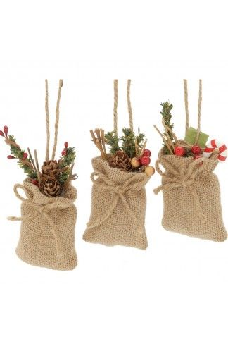 Hessian Sack With Candy Filling Hanging Decoration Hessian Crafts Xmas Crafts Burlap Crafts