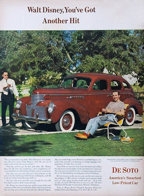 Disney's DeSoto    DeSoto Ad, 1939