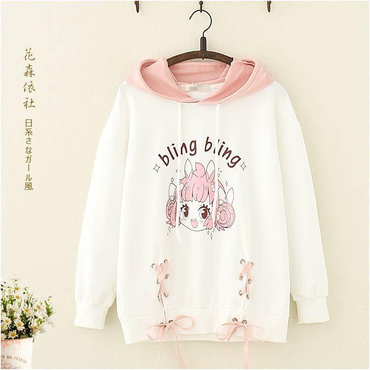Japanese Winter Harajuku Preppy Style Mori Girl Kawaii Sweatshirts Pullover Coat