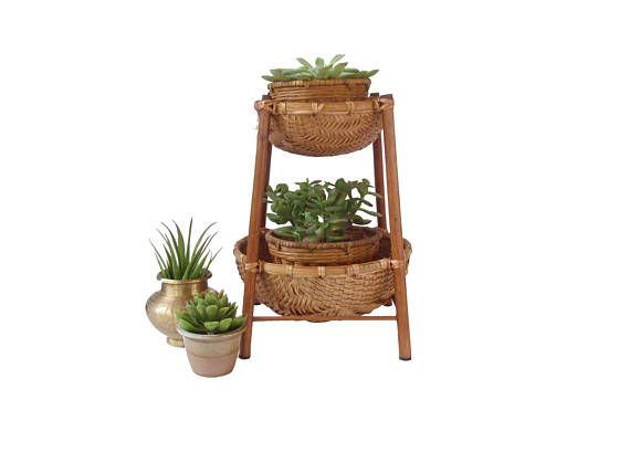 Awesome 2 Tier Wicker Rattan Plant Stand Boho Woven Planter