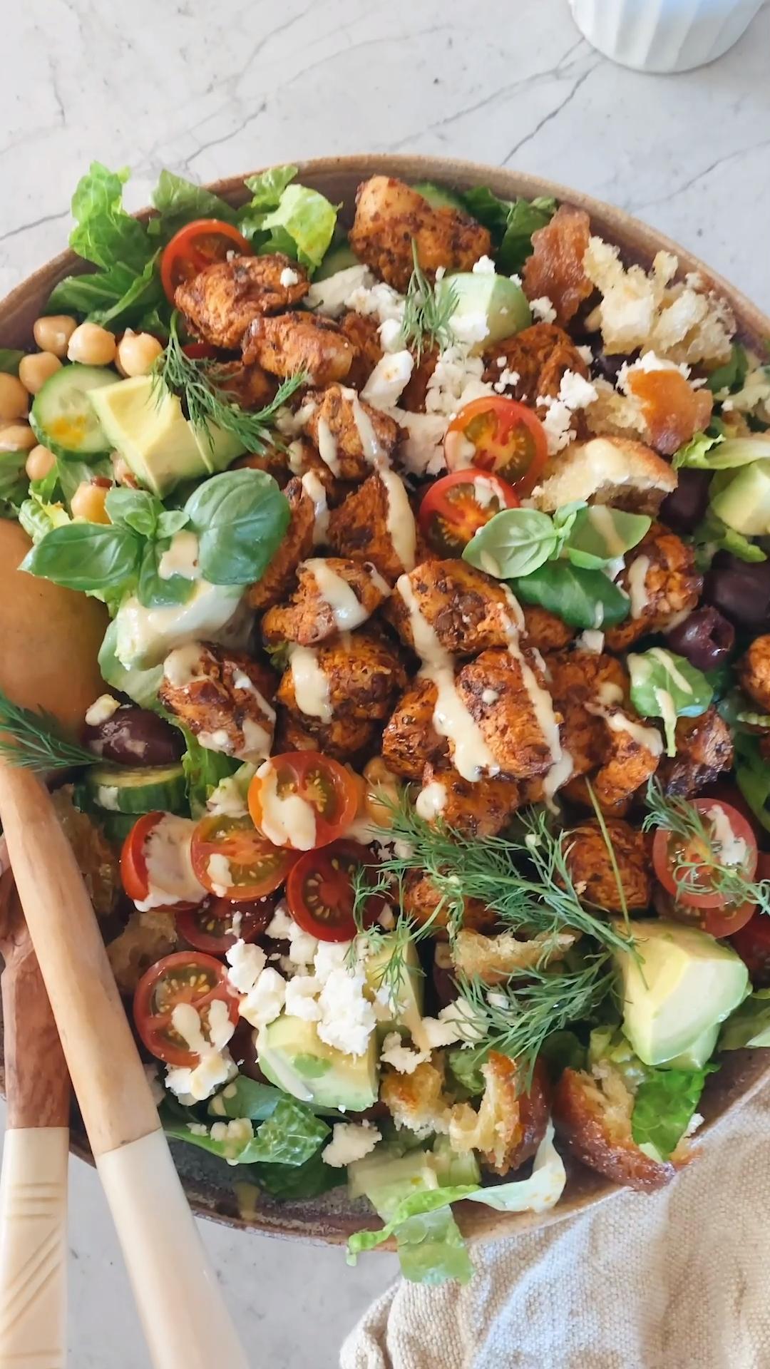 Greek Chicken Chopped Salad with Lemon Tahini Vina