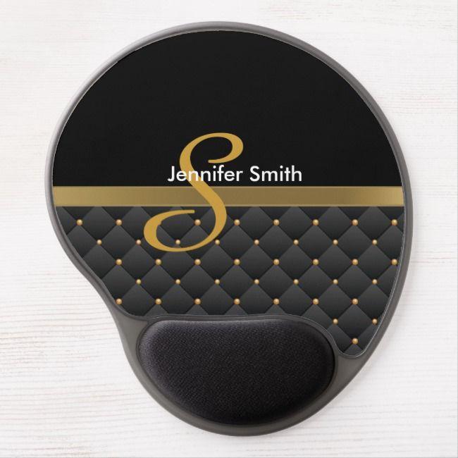 Blackand White 3d Logo: Monogram Dark Gold & Black Pattern Design Gel Mouse Pad