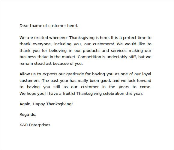 Sample Thank You Letter To Customers For Business Thank You