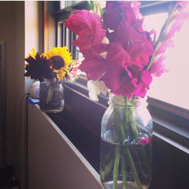 Did it myself. Easy way to add some life to a room. Some flowers in a mason jar.