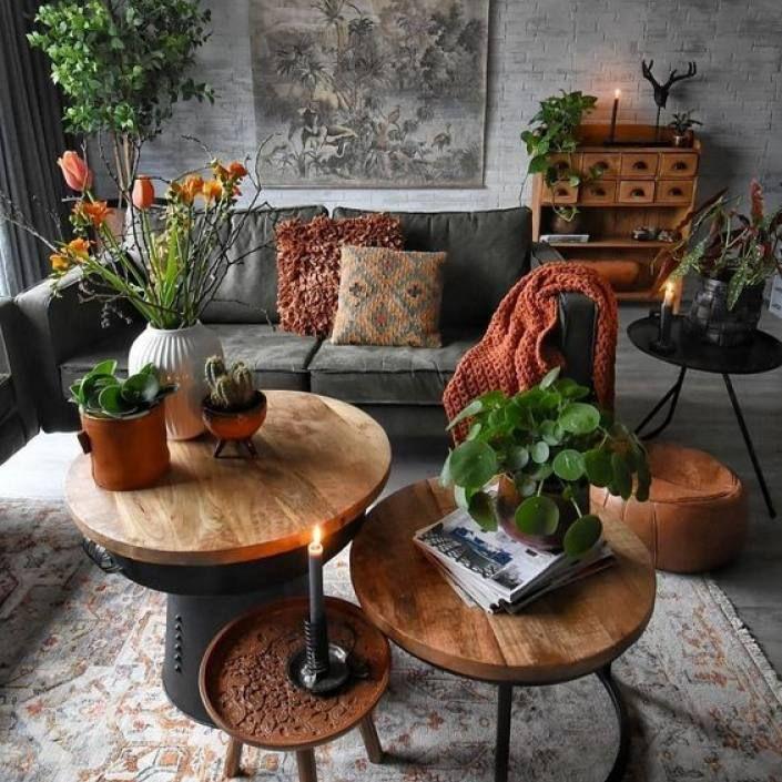 Room redo: Green nature inspired dark Bohemian living room images