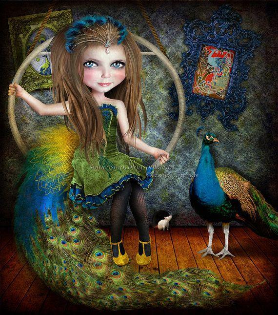 Art Print Little Bird Circus Performer Art Peacock by solocosmo