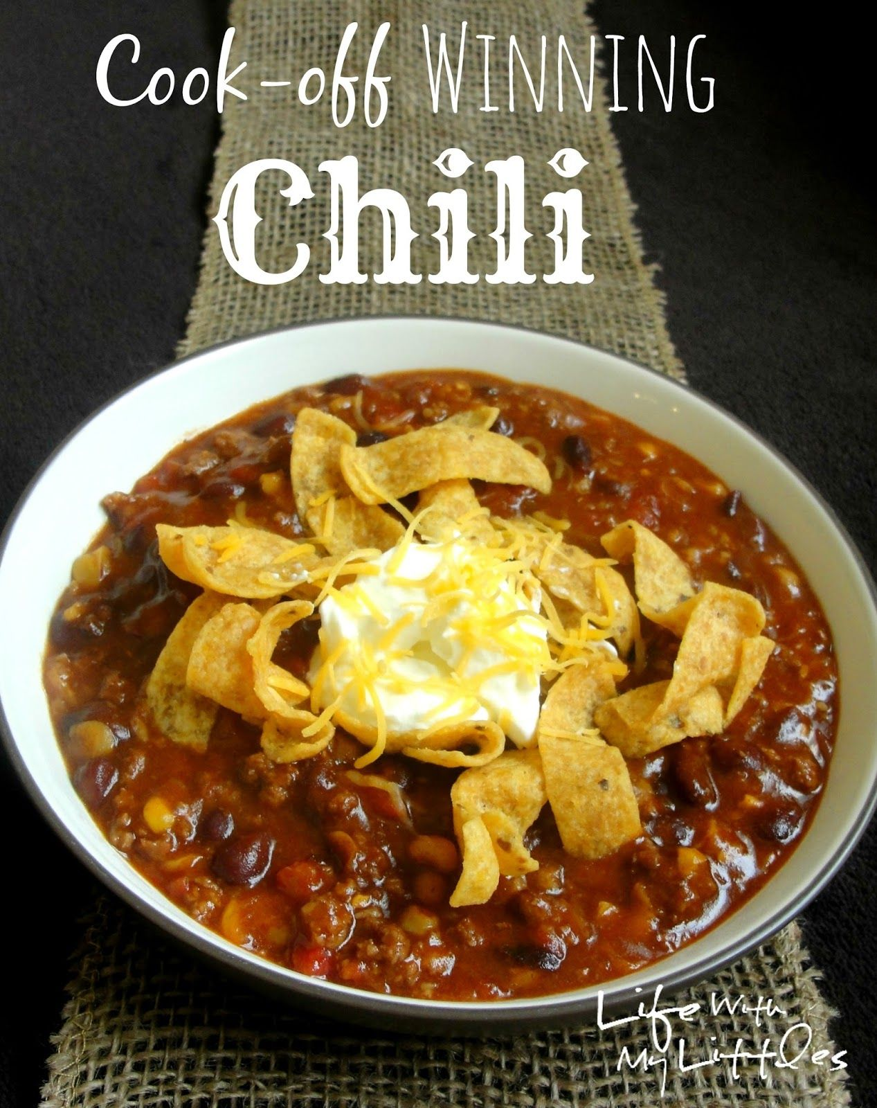 Easy Cook Off Winning Chili In The Crock Pot Life With My Littles Recipe Chilli Recipes Chili Recipe Easy Recipes