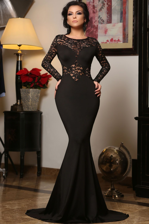 Black long lace sleeve mermaid princess prom dress gorgeous