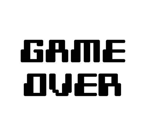 Game Over White Art Print Color Me Happy Art Com In 2021 Video Game Font Game Font Gamer Quotes