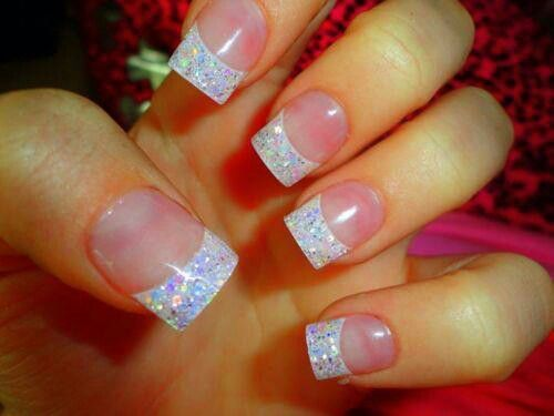 French Tip Nails With Glitter