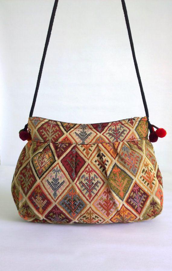 On Kilim Embroidery Crossbody Shoulder Bag Tribal Banjara Boho Hmong Gypsy Cross