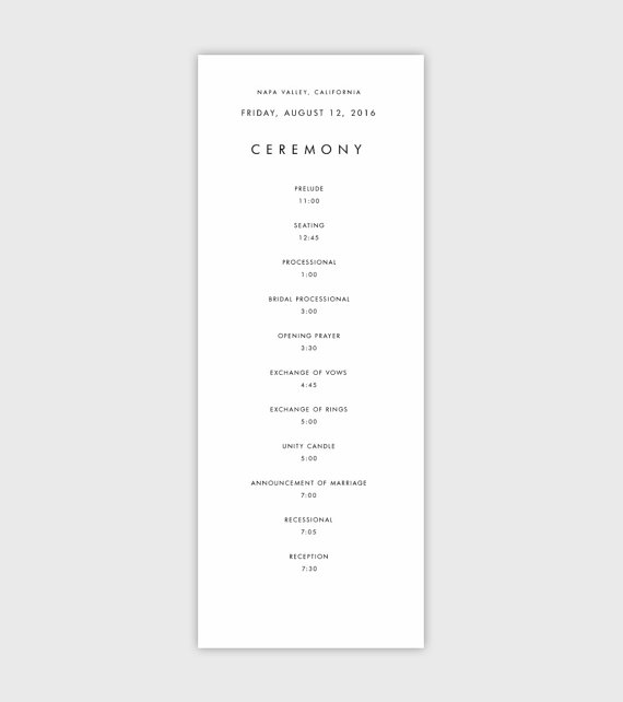 Event Program Program Template Wedding Programs Instant Download