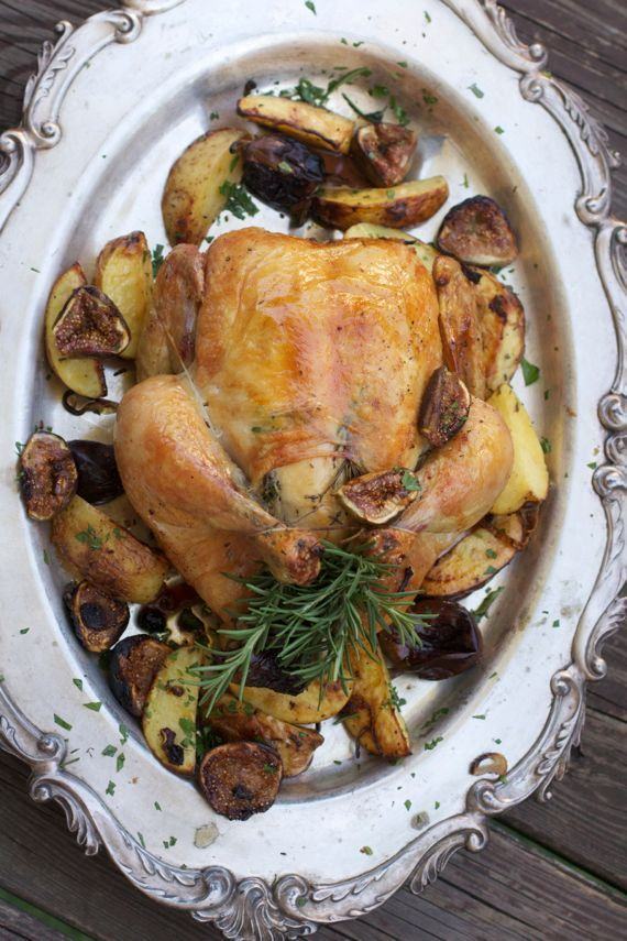 Roast Chicken with Figs, Shallots and Mustard Rosemary Potatoes from Angela Roberts