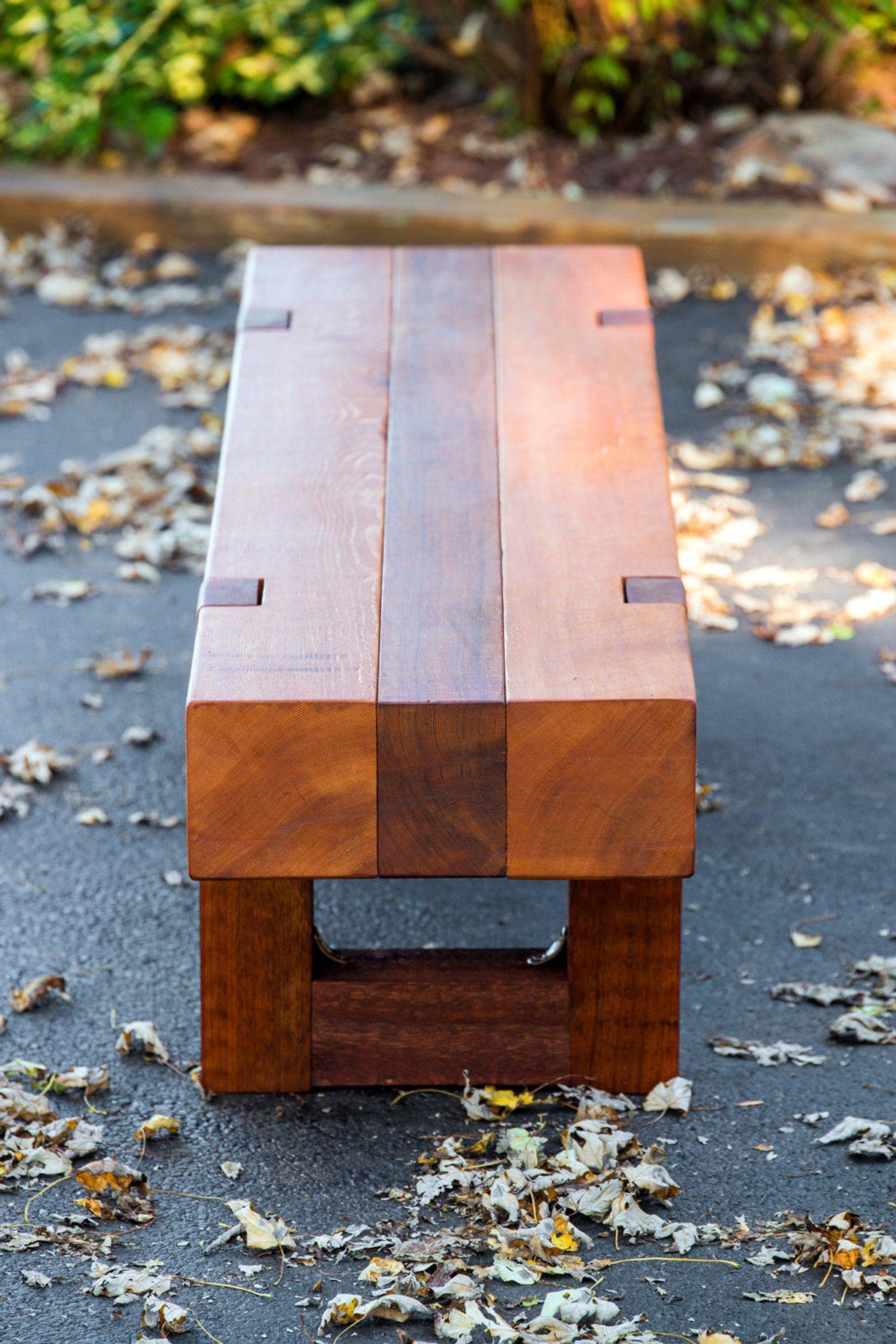Wood bench rustic modern outdoor patio garden cedar | Etsy ...