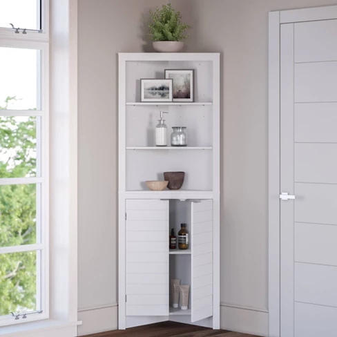 Corner Linen Cabinet With Open Shelves White Corner Linen Cabinet Linen Cabinet Bathroom Furniture Storage