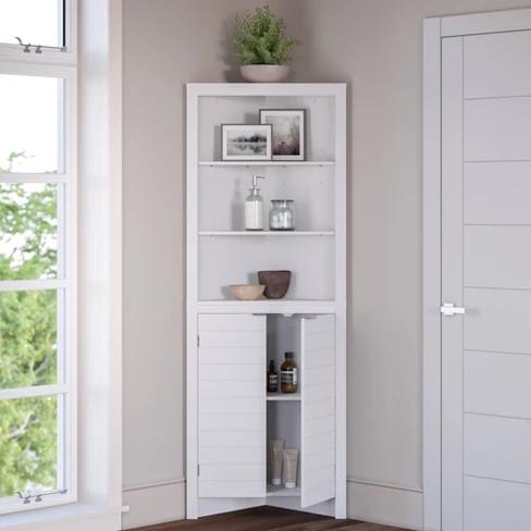 Corner Linen Cabinet With Open Shelves White Corner Linen Cabinet Linen Cabinet Bathroom Furniture Storage