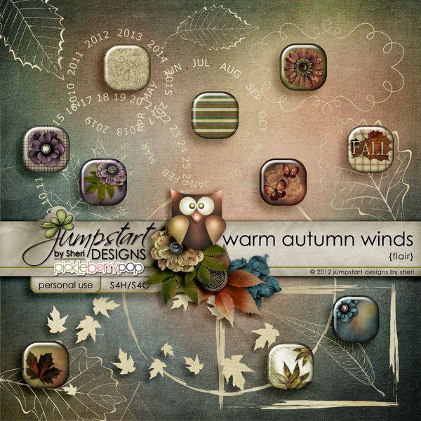 Warm Autumn Winds ~ Flair ~ by Jumpstart Designs Digital scrapbook kits $