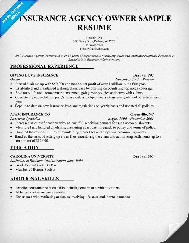 Insurance Agency Owner Resume Sample  Resume For Insurance Agent