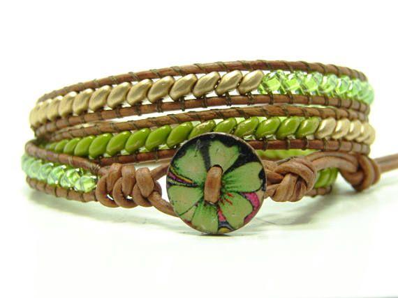 5e6273468 Green Beaded Leather Wrap Bracelet Superduo Beaded Triple Triple Wrap