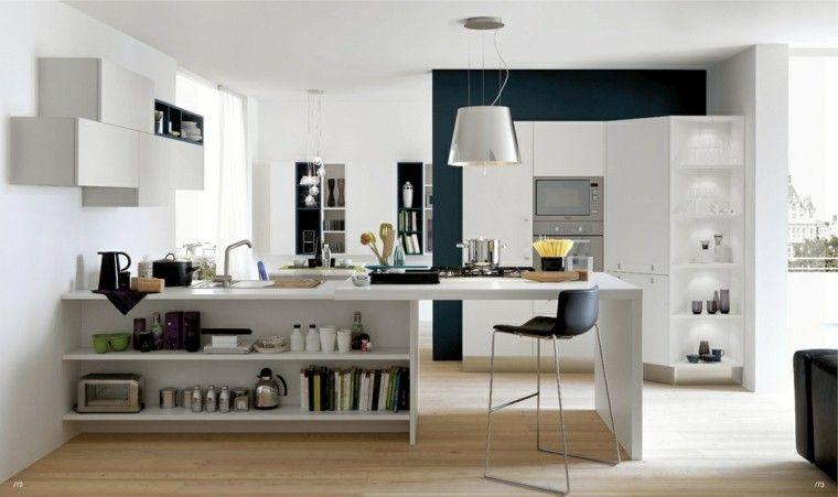 cocina moderna con isla con estanterias blancas
