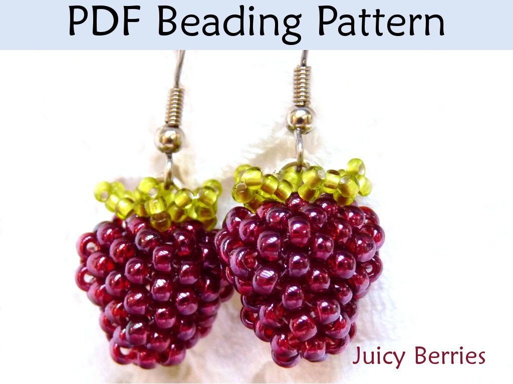 Beading Tutorial, Beaded Berries, Earrings, Jewelry Making Pattern ...