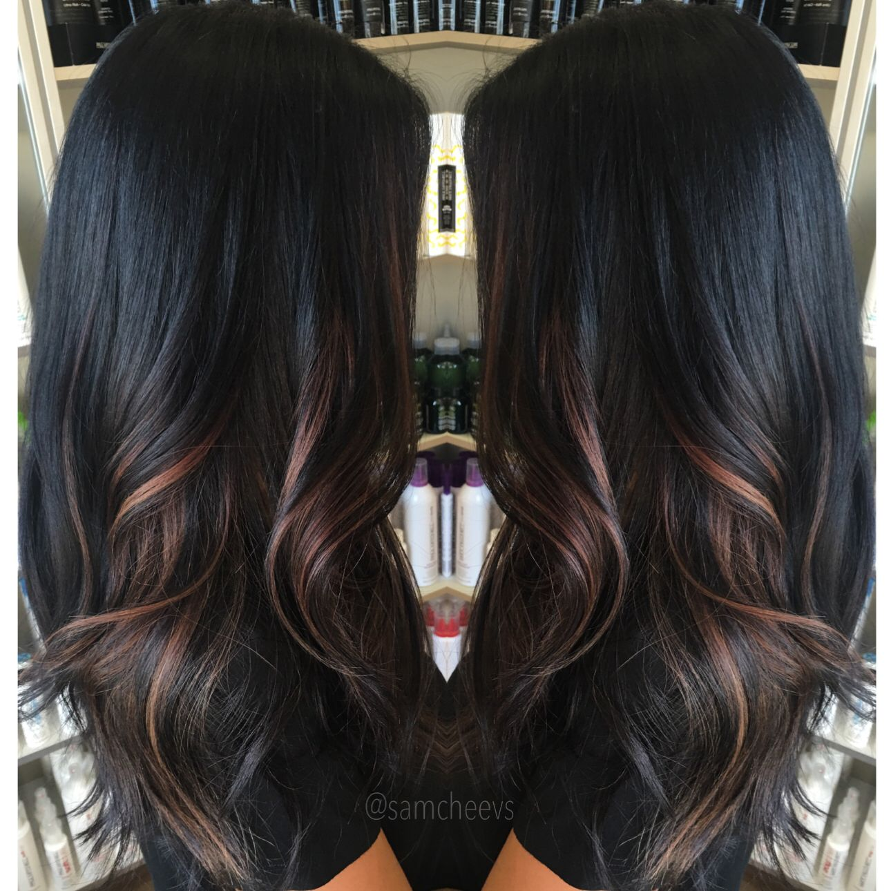 Ombre For Dark Hair Highlights For Black Hair Dark Hair With Highlights Dark Ombre Hair Balayage Hair Dark