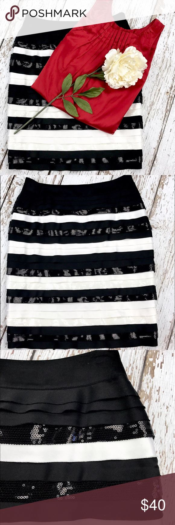 "💕SALE💕 White House Black Market Sequins Skirt Gorgeous 💕 NWT White House Black Market Sequins Layer Skirt zip up side High Quality 21"" from the top of the Waist to the bottom 15"" across front of Waist White House Black Market Skirts"