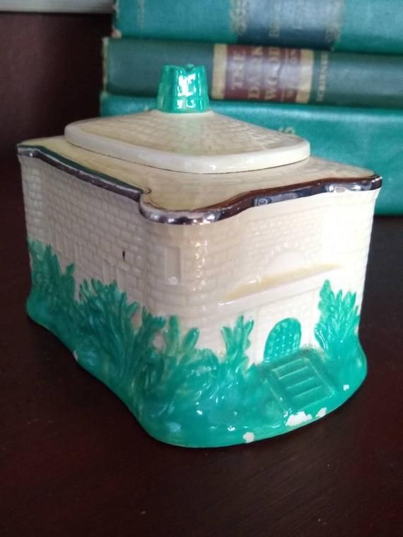 Vintage Maddock Sunset Ware Cottage Ware Sugar Box with Lid Silver Trim RARE #dishware