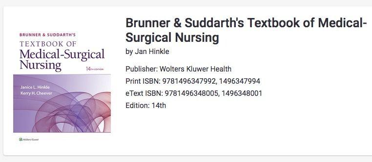 Brunner & Suddarth 14 ed Textbook of Medical Surgical