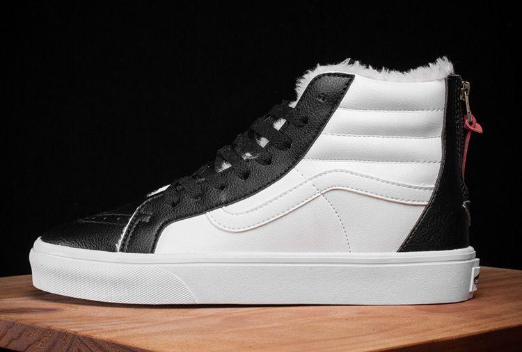 0a727f9595 Vans Leather Fur Back Zip White Black Winter SK8-Hi Skate Shoe  Vans ...