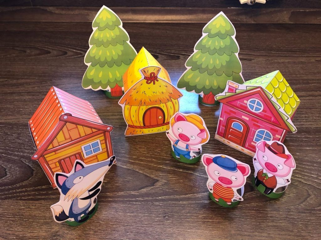 Three Little Pigs Paper Standees Houses Template In