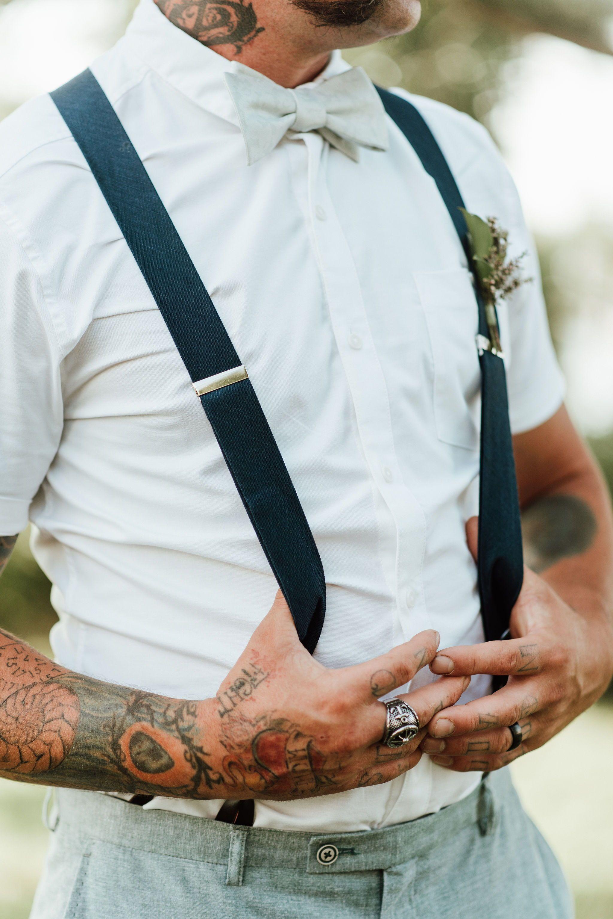 Groomsmen Suspenders, Bowties, and Tattoos Groomsmen