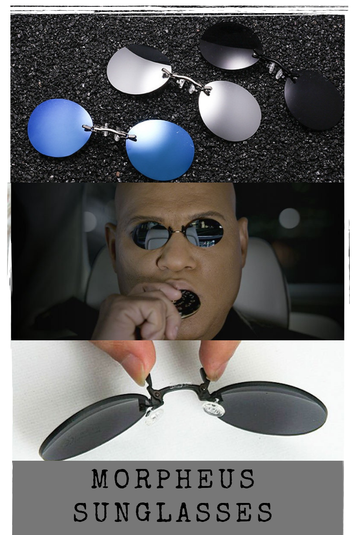 d6e17be52d95 Mini Rimless Sunglasses Clip On Nose, Lens Round Glasses Fashion, Matrix  Morpheus Frameless Vintage