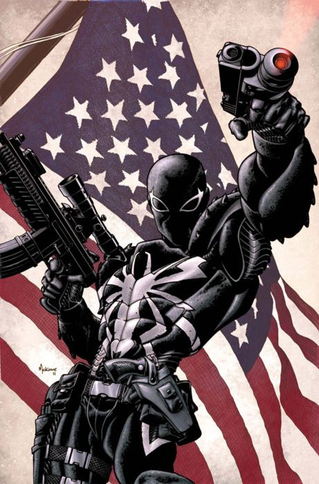 Venom: An American Hero  ...probably just fooling around in front of a flag with Deadpool behind the camera..
