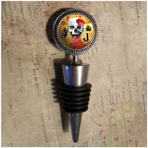 Personalized Red Rose Skull Wine Stopper by DestinationLtd on Etsy