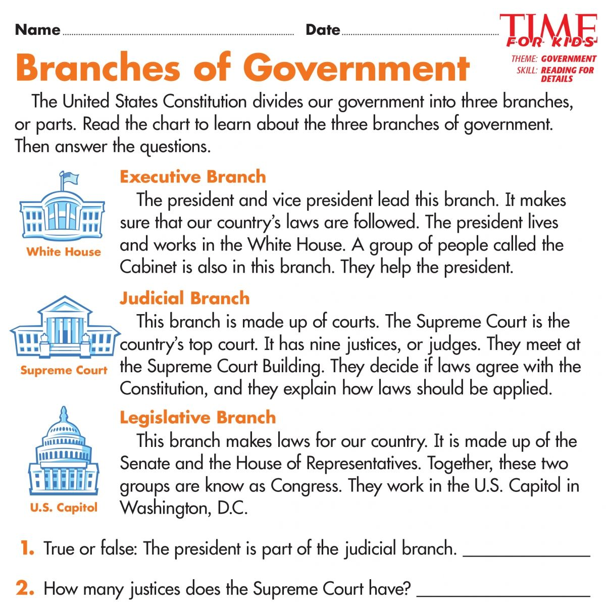Worksheets Three Branches Of Government Worksheet election printables time for kids 2016 pinterest kids