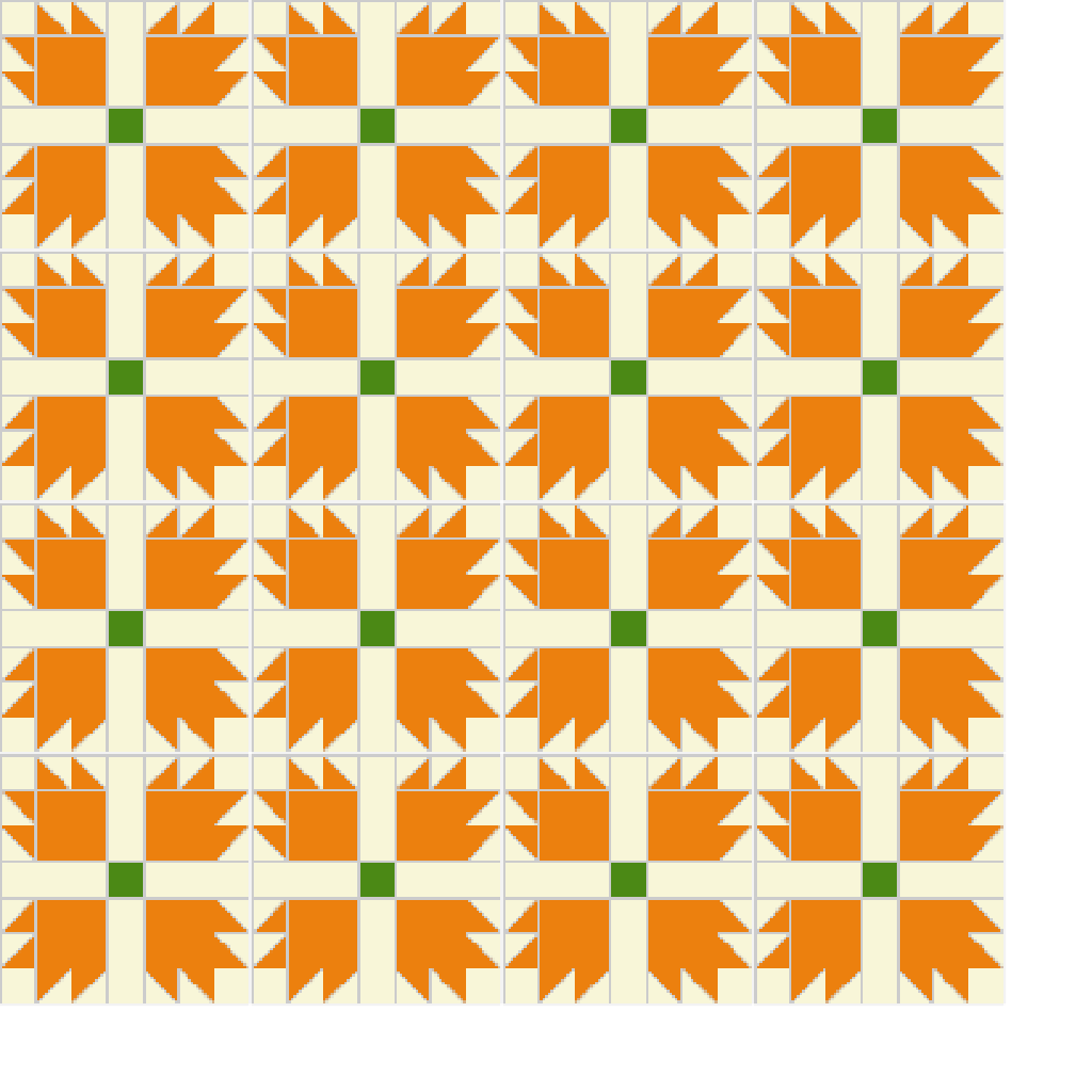 An example quilt using the Bear's Paw block.