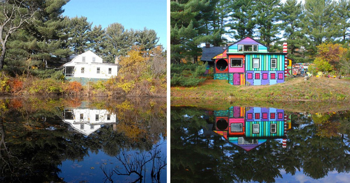 Artist Kat O'Sullivan Transforms a Dull Shack Into a Psychedelic Rainbow House  http://www.thisiscolossal.com/2014/11/artist-kat-o-sullivan-transforms-a-dull-shack-into-a-psychedelic-rainbow-house/