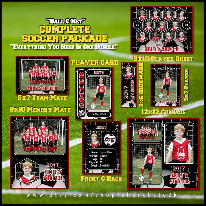 2020 Complete Soccer Football Template Package Includes Etsy Soccer Cards Football Template Player Card