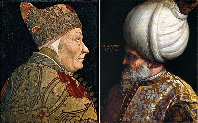 Two Italian Renaissance paintings showing the Doge (leader) of the Republic of Venice Francesco Foscari and the Ottoman Sultan Bayezid II.