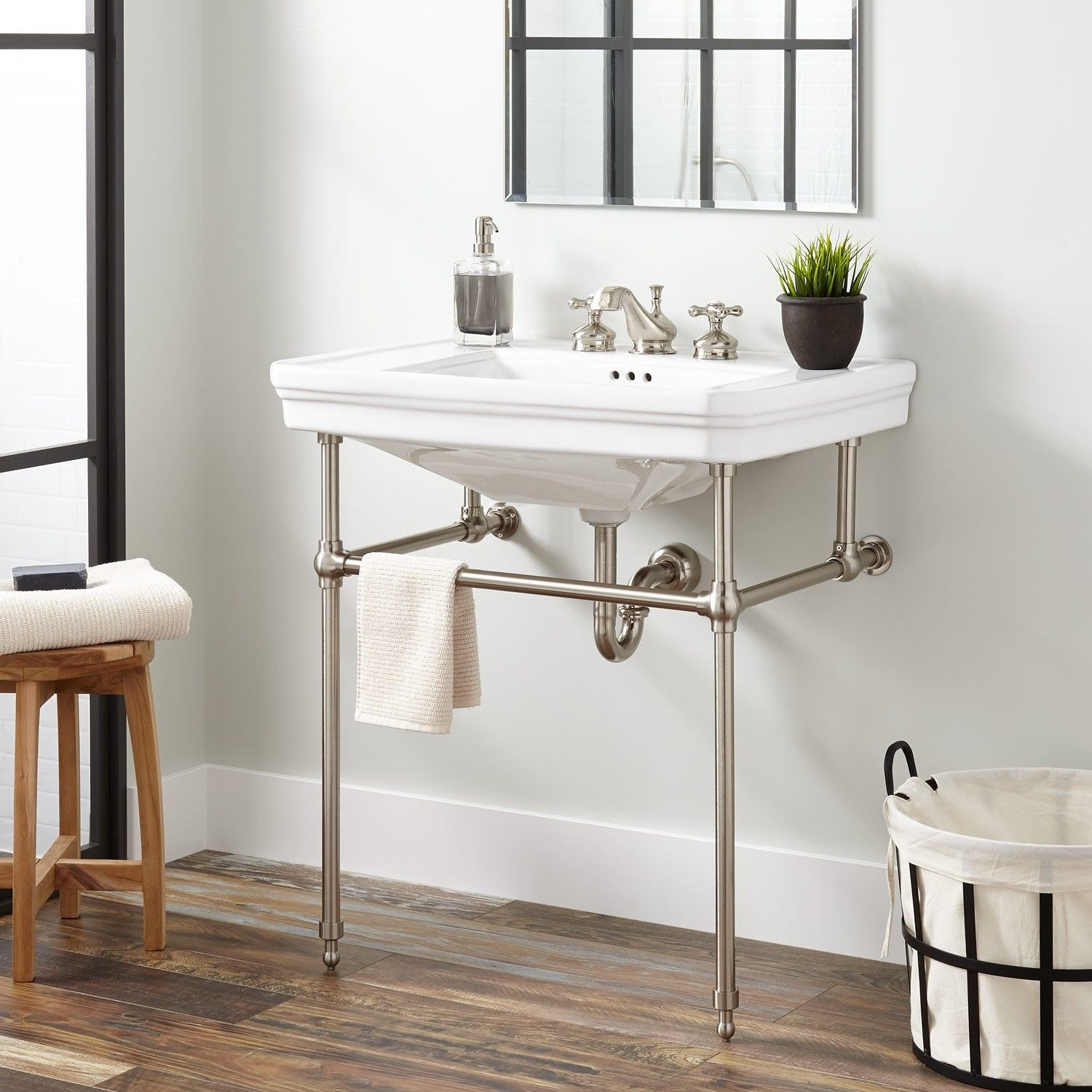 Mason Porcelain Console Sink With Brass Stand Bathrooms