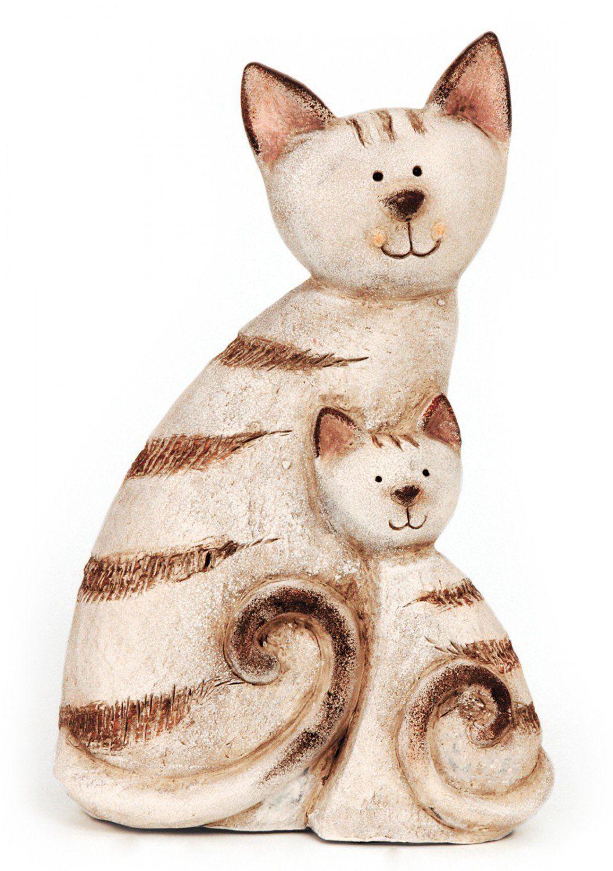 Deko Figur Katze Katzenmutter Mit Kind Aus Keramik Braun Beige, Höhe 29,5 Cm