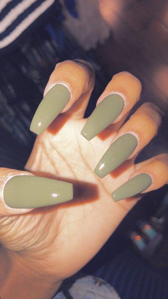 Photo of Trend Fall Nails: Green Color Art Designs 2019 # coffin #pin #essie #nailar …