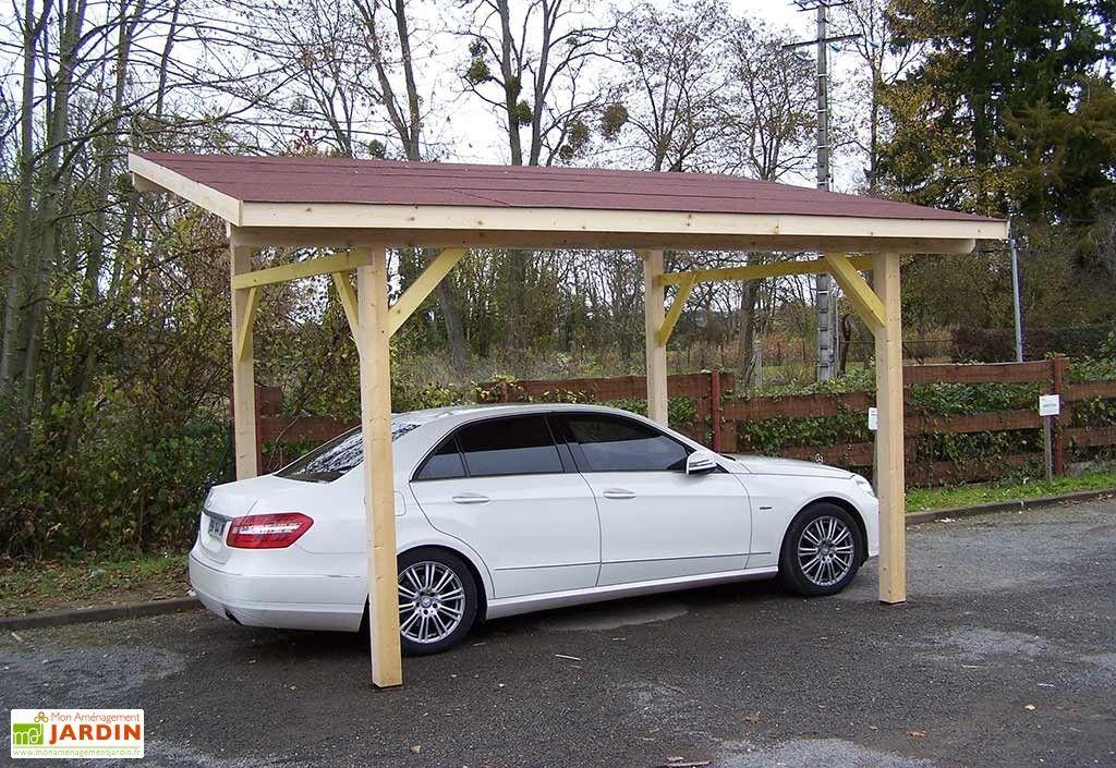 Carport Bois Toit 1 Pente + Bardeaux Bitumés 5 x 3 m